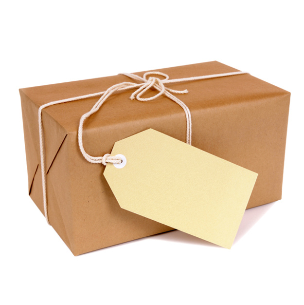 Small brown package with manila label isolated